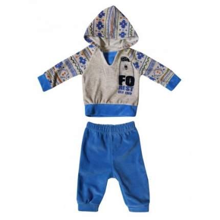 Комплект велюровый для мальчиков Ciggo, цв. голубой, р-р 80