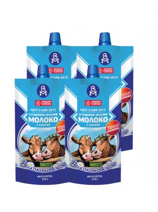 Волоконовское Молоко цельное сгущенное с сахаром 8,5% ГОСТ, 4 шт по 270 г