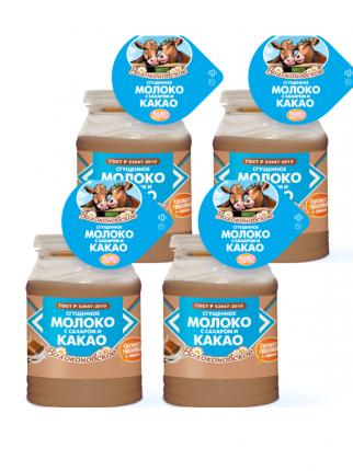 Волоконовское Сгущенное молоко с сахаром и какао ГОСТ, 4 шт по 380 г
