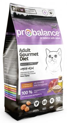 Сухой корм для кошек ProBalance Gourmet Diet, говядина, кролик, 10кг
