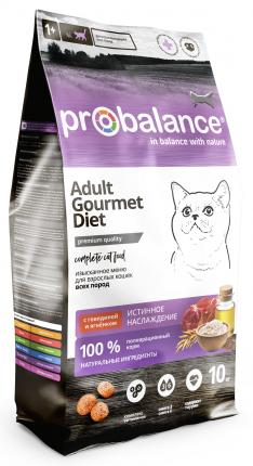 Сухой корм для кошек ProBalance Gourmet Diet, говядина, ягненок, 10кг