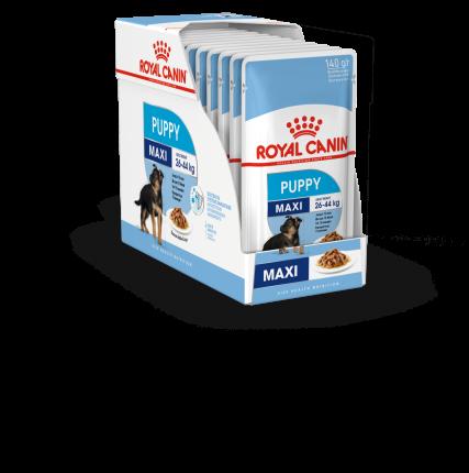 Влажный корм для щенков ROYAL CANIN Maxi Puppy, для крупных пород, мясо, 10шт по 140г