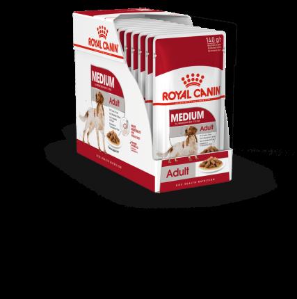 Влажный корм для собак ROYAL CANIN Medium Adult, для средних пород, мясо, 10шт по 140г