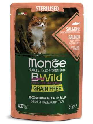 Влажный корм для кошек Monge Cat BWild Grain Free, лосось, овощи, креветки, 14шт, 85г