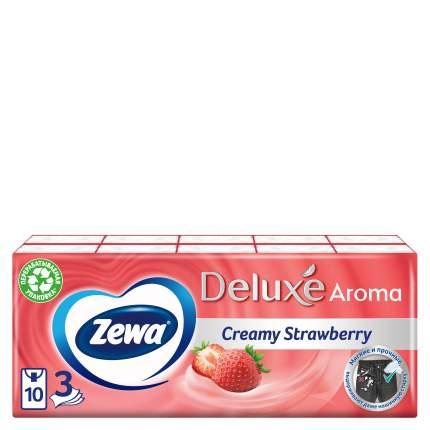 Платочки бумажные носовые Zewa Deluxe Клубника, 3 слоя, 10 шт. Х 10