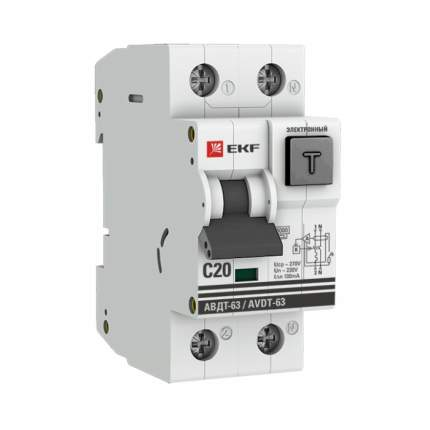Дифференциальный автомат АВДТ-63 20А/100мА (хар-ка C, электронный тип A) 6кА EKF PROxima
