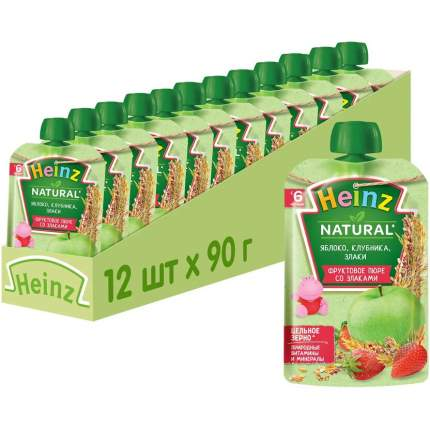 Пюре фруктовое Heinz яблоко, клубника и злаки, 6 мес., 12шт