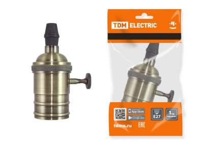 """Патрон TDM ELECTRIC подвесной Е27 с выключателем, """"Лофт"""", бронза SQ0335-0068"""