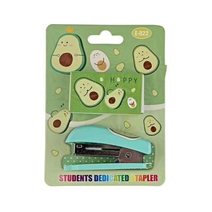 Детский канцелярский набор Авокадо (степлер+скобы) 12х8,5 см светло-зеленый