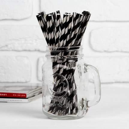 """Трубочка для коктейля """"Спираль"""" набор 25 шт, цвет черный-серебро"""