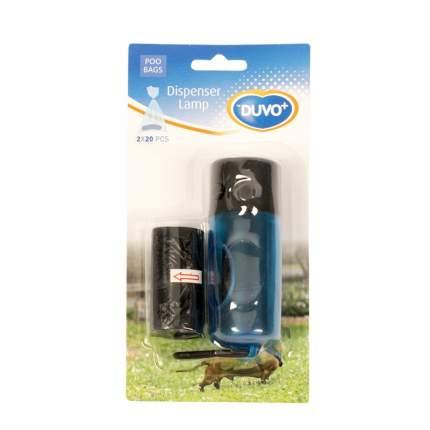 Контейнер для пакетов Duvo+ черный, с фонариком, 2 рулонов по 20 шт