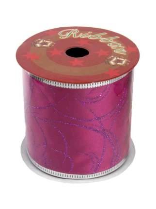 """Новогодняя лента """"Розовые волны"""", 6,3x270 см"""