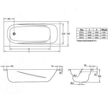Ванна стальная BLB Universal Anatomica B75U handles N 170x75 с ручками