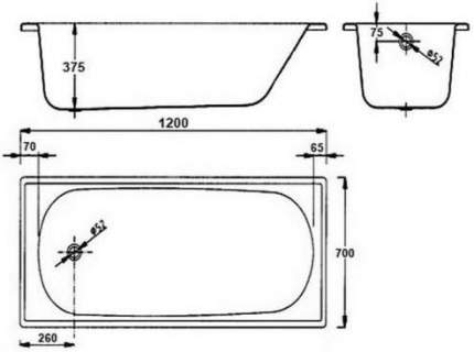 Ванна стальная BLB Europa B20ESLS 120x70