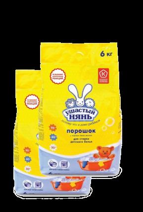 Детский стиральный порошок Ушастый нянь, 6кг х 2 упаковки