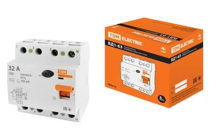 Устройство защитного отключения TDM ELECTRIC ВД1-63 4Р 32А 100мА SQ0203-0033