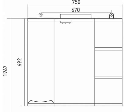 Шкаф Mixline Этьен 75 правый (529941)