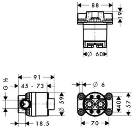 Скрытая часть смесителя для раковины Axor 10902180