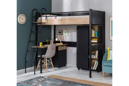 Кровать-чердак с письменным столом Cilek Black