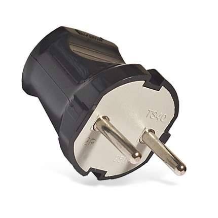 Вилка Universal 6А 250В (Абс-Пластик, Прямая, Черная) А0113