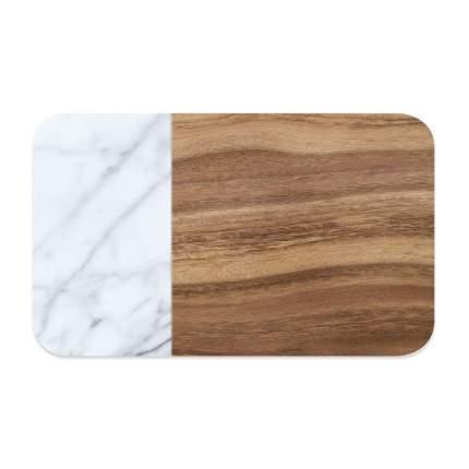 Коврик под миску для животных TarHong Acacia Wood+Carrara прямоугольная, коричнево-белый