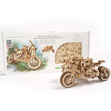 Конструктор 3D-пазл UGEARS - Мотоцикл Scrambler UGR-10 с коляской