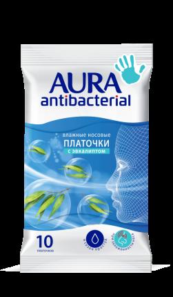 Влажные носовые платочки AURA Antibacterial  10шт