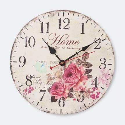 Часы настенные кварцевые Irit IR-642 диам. 34см круглые Розы