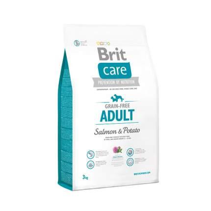 Сухой корм для собак Brit Care Adult Grain Free, для любых пород, лосось, картофель,3кг