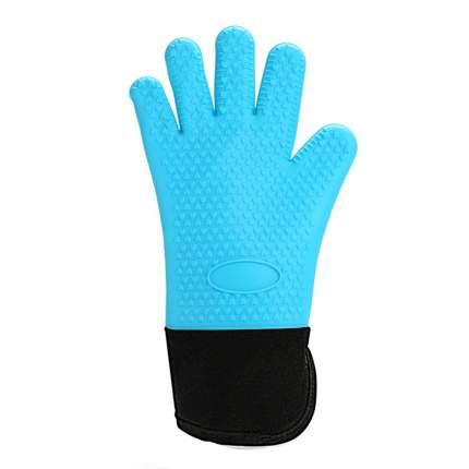 Cиликоновые перчатки, термостойкие, голубые, 34,5х19х1 см, Kitchen Angel KA-SILGLO-04