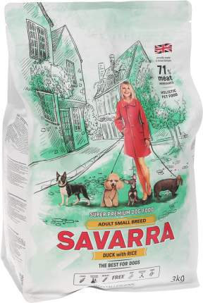 Сухой корм для собак Savarra Adult Small Breed, для мелких пород, утка и рис, 3кг