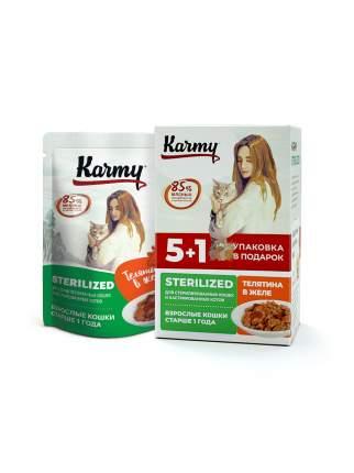 НАБОР (5+1) Влажный корм для кошек Karmy STERILIZED, в соусе, курица, 480г