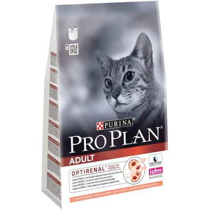 Сухой корм для кошек PRO PLAN Adult Optirenal, лосось, 3кг