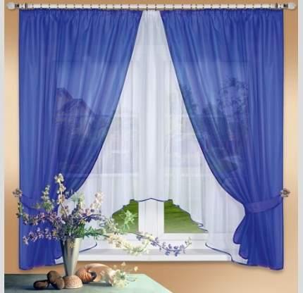 Комплект штор с тюль для кухни Nivasan Лидия синий