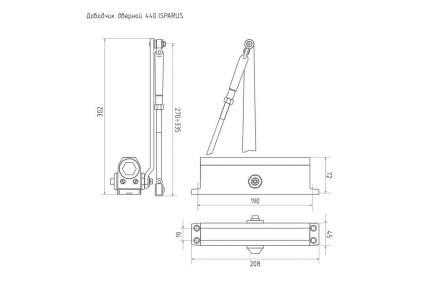 Доводчик дверной НОРА-М Isparus 440 морозостойкий (от 80 до 140 кг) - Серебро