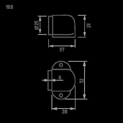 Ограничитель двери НОРА-М 108 напольный - Матовое золото