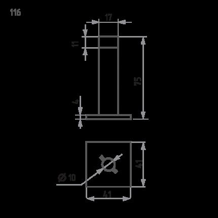 Ограничитель двери НОРА-М 116 настенный - Золото