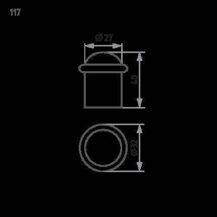 Ограничитель двери НОРА-М 117 напольный - Хром