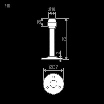 Ограничитель двери НОРА-М 110 настенный - Хром