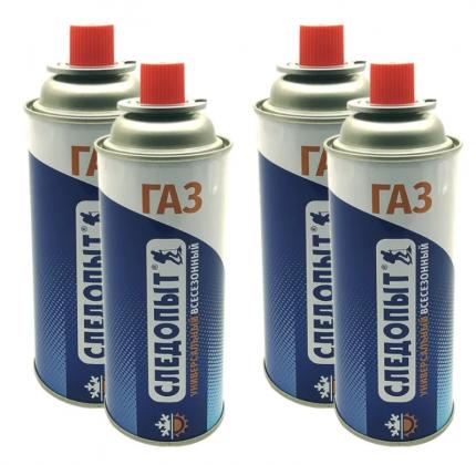 Баллон газовый цанговый для горелок и портативных плит 220 г 4 шт СЛЕДОПЫТ PF-FG-220R-4