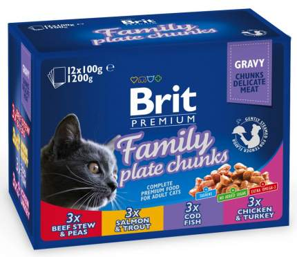 Влажный корм для кошек Brit Premium, говядина, лосось, рыба, курица, 12шт, 100г