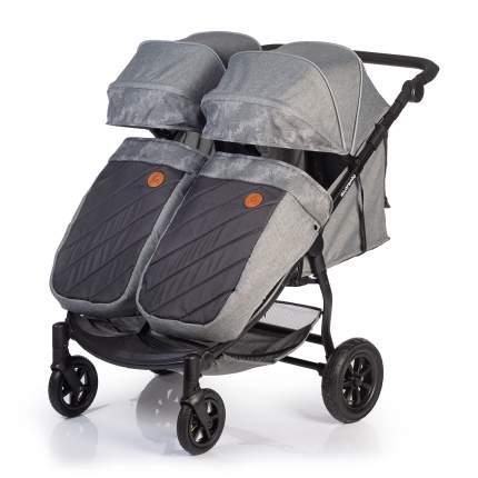 Прогулочная коляска для двойни Acarento Prevalenza Duo, с надувными колесами, цвет серый