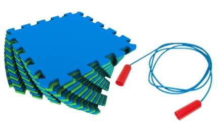 Мягкий пол универсальный Экопромторг сине-зеленый 25x25 + скакалка