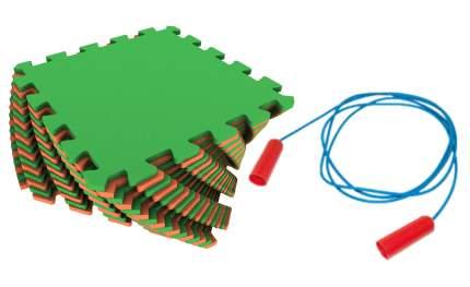 Мягкий пол универсальный Экопромторг оранжево-зеленый 25x25 + скакалка