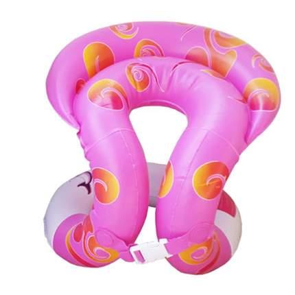 Детский надувной жилет Baziator с подголовником, S рост 115-135 см, розовый с рис.