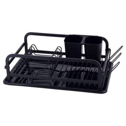Сушилка для посуды 41*28*13,5 см из алюминия с поддоном (черная)