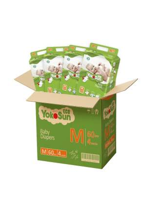 Детские подгузники на липучках YokoSun Eco М (5-10 кг), 4х60 шт.
