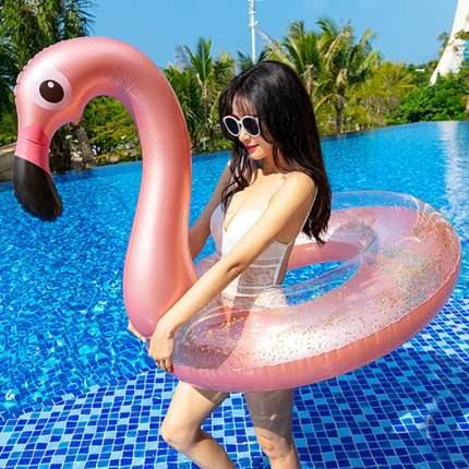 Пляжный надувной прозрачный круг Baziator Розовый Фламинго с блестками, диаметр 90 см