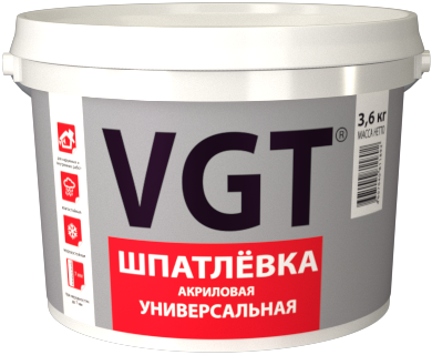 Шпатлёвка VGT универсальная для нар/внутр работ (влагостойкая) 3.6 кг