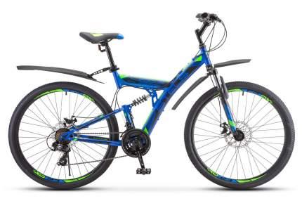 Stels Велосипед Focus MD 21 Sp 27.5 V010, 2020, ростовка 19, Синий, Зеленый